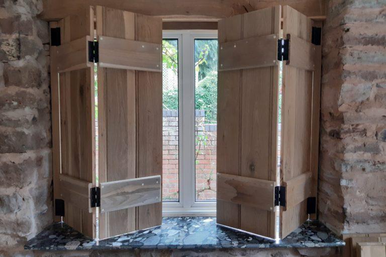 Oak window shutters