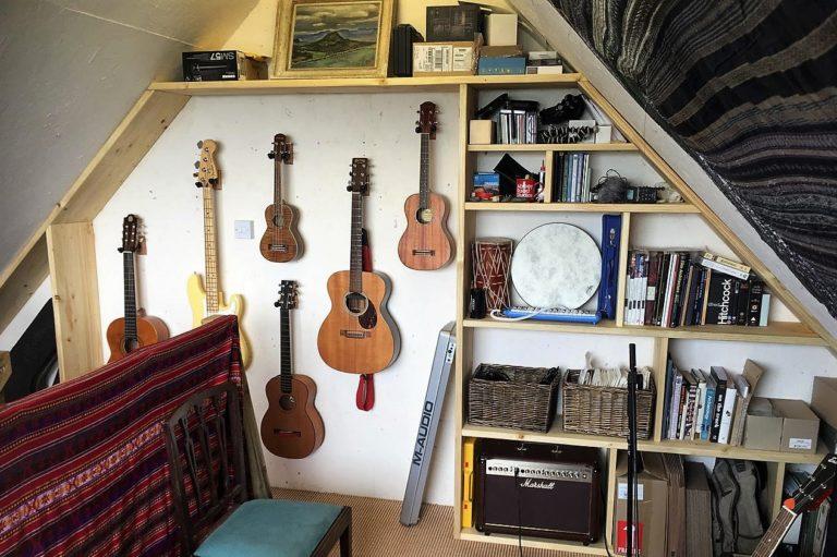 Music studio shelving unit